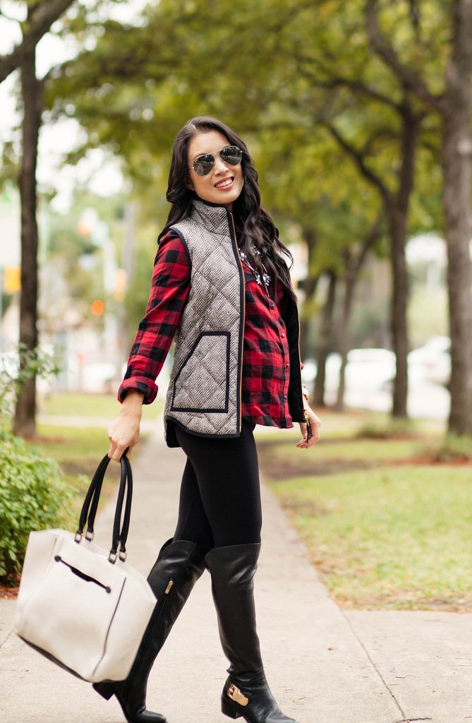 cute & little blog | petite fashion | maternity baby bump pregnancy fall style | buffalo plaid check flannel shirt,  seraphine leggings, vince camuto over-the-knee boots, baublebar spiked lily statement necklace | second trimester 25 weeks