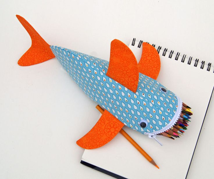 Shark Pencil Case  Fun Zipper Pouch  Unique Kids by minnebites, $35.00