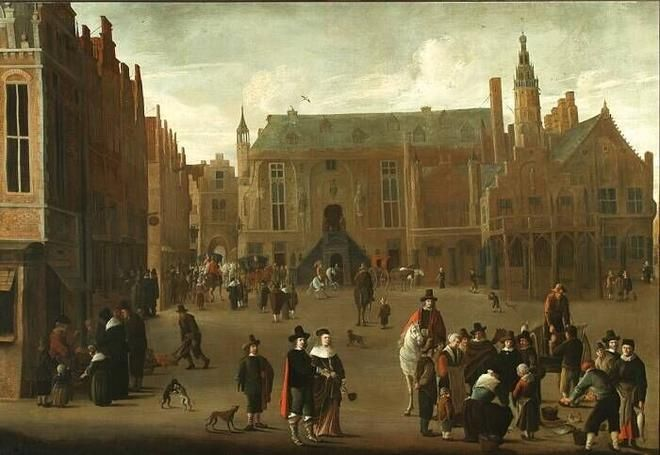 Cornelis Beelt, View of the Town Hall on the Market Square at Haarlem, ca. 1640. (collection) #franshalsmuseum #cornelisbeelt #haarlem #art