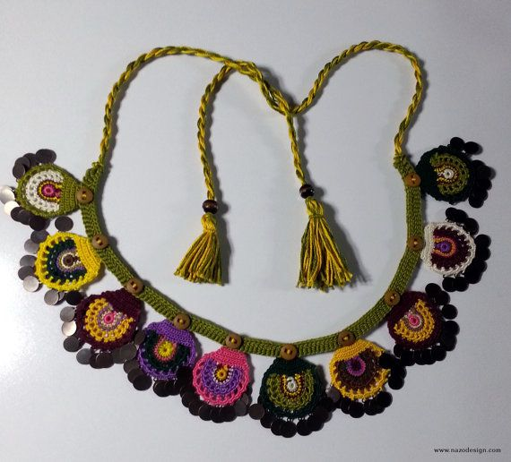 Beaded Necklace Beaded Crochet Neckalce Knotted by NazoDesign