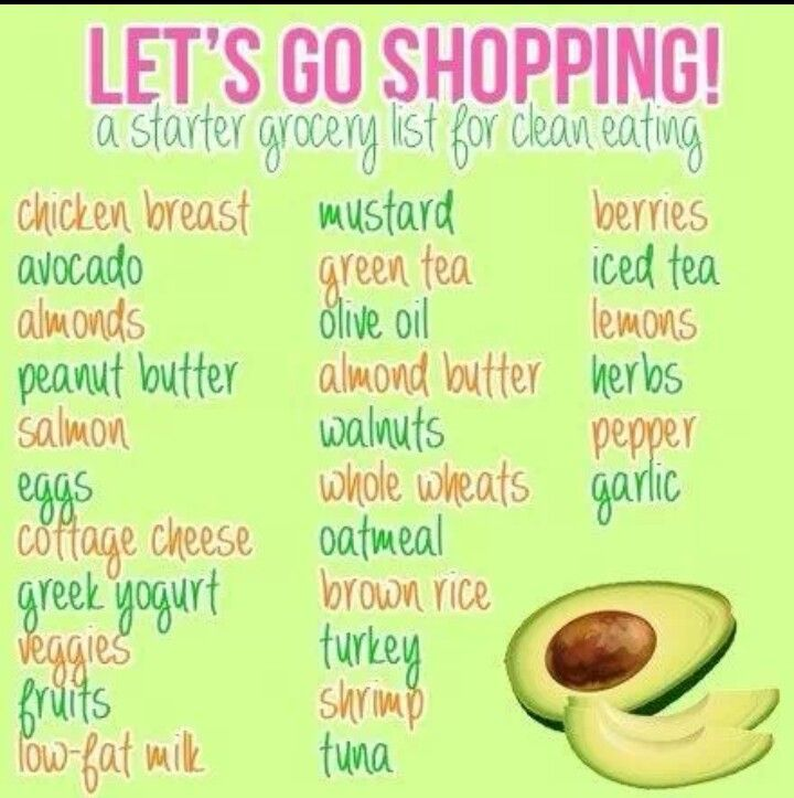 Clean eating shopping list- We'd need to sub out the almond products since our daughters got a tree nut allergy.