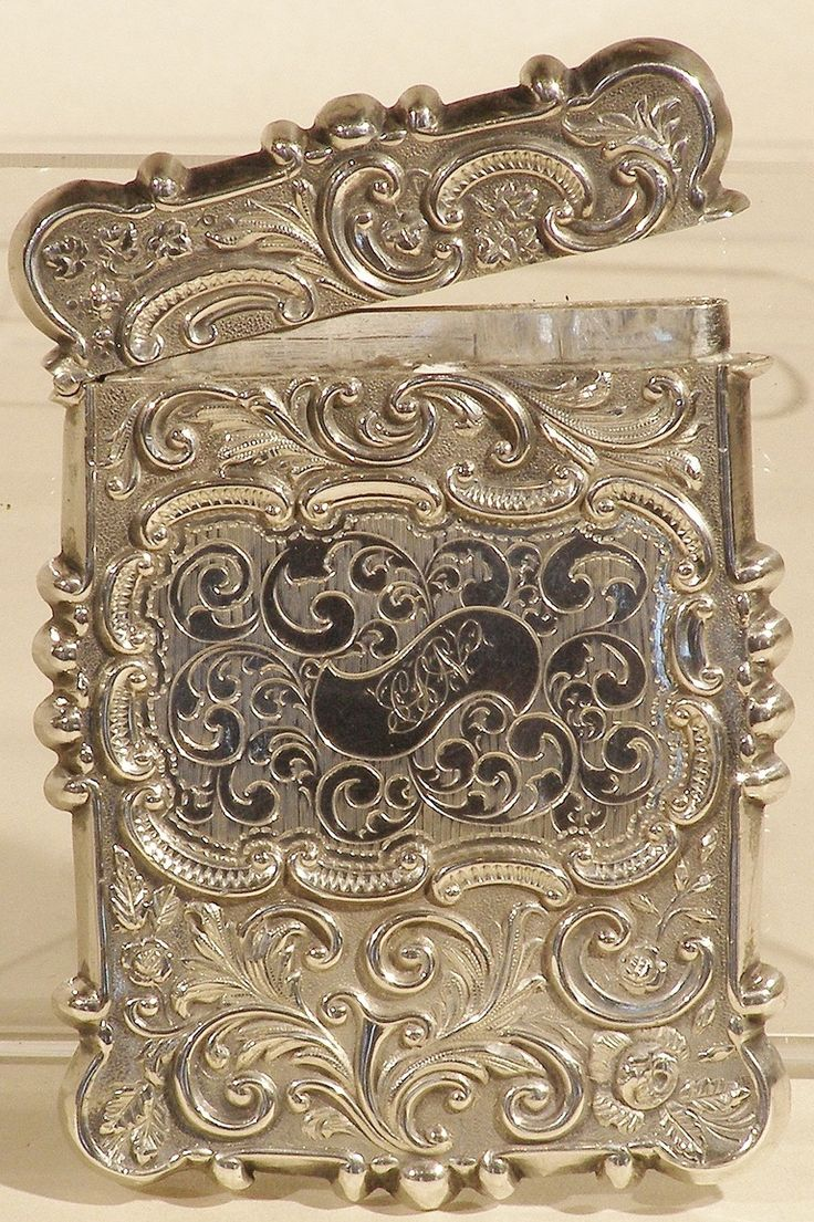 108 Best Antique Silver Calling Card Cases Trays Images On