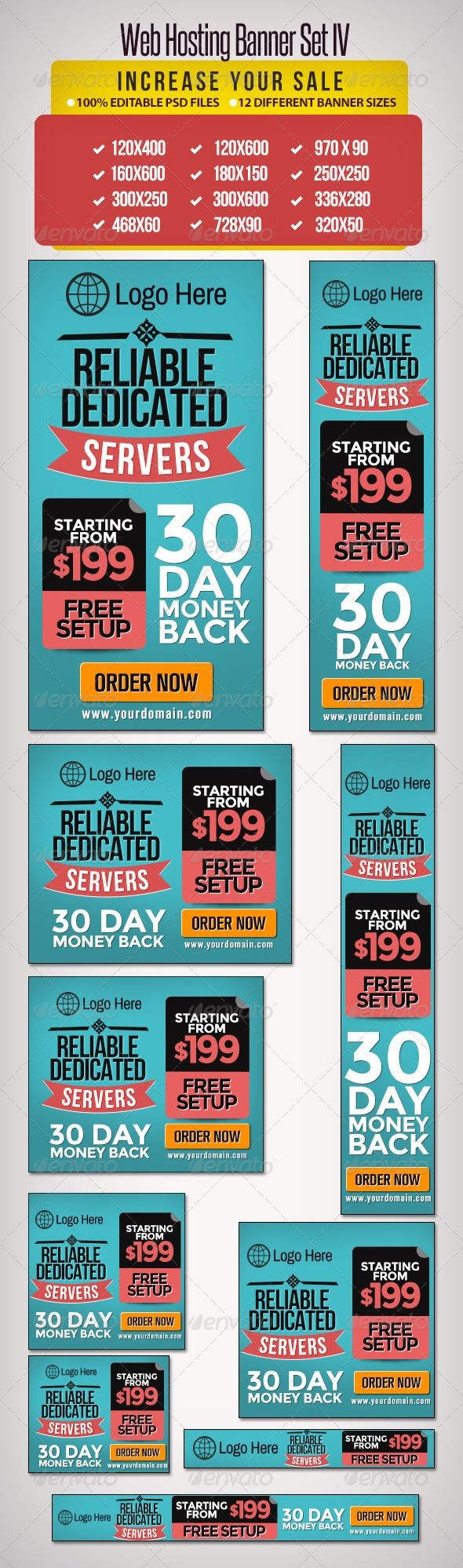 Digital banner design for psd files - Web Hosting Banner Set Template Psd Buy And Download Http Graphicriver