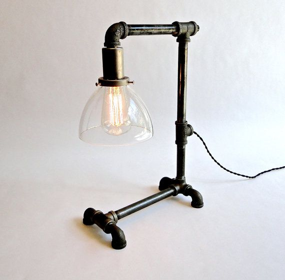The Kelly - Industrial iron pipe desk lamp w/ convenience outlet by Unplumbed