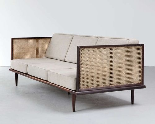 Jacaranda and cane sofa designed by Martin Eisler for Forma, 1950's
