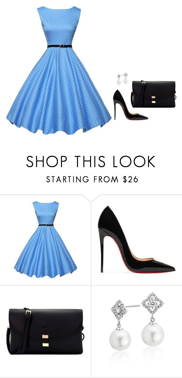 """""""Sem título #2745"""" by mprocedi ❤ liked on Polyvore featuring WithChic, Christian Louboutin and Blue Nile"""
