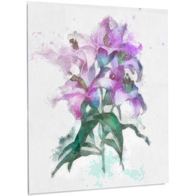 "DesignArt 'Purple Lilies Illustration' Painting Print on Metal Size: 28"" H x 12"" W x 1"" D"
