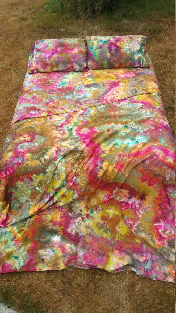 ICE tie dye shEets the BOHo kAleidoscOpe bed sheet set gypsy hippie sheets! Ice dyed by LunabeanShoppe