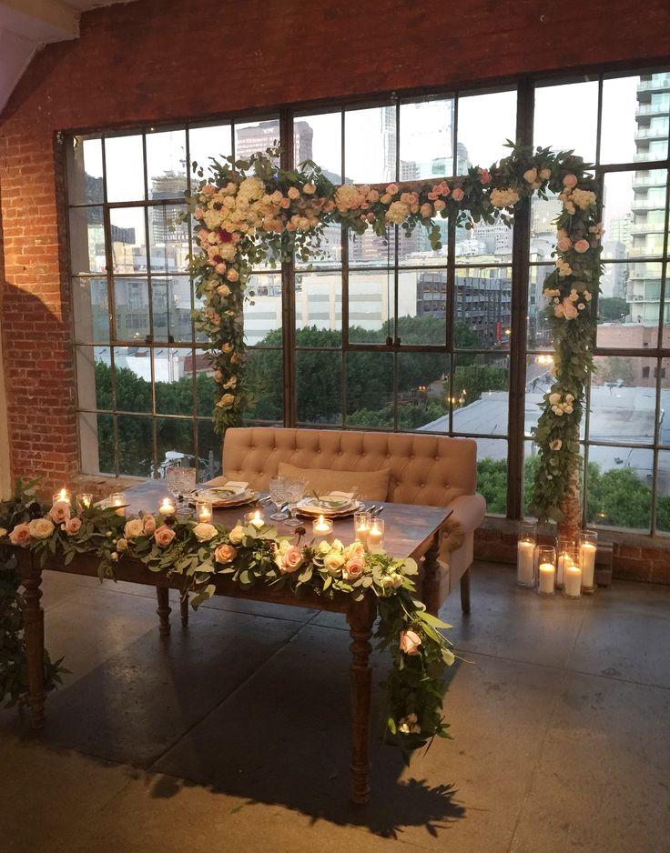 Urban wedding sweetheart table ideas Downtown Los Angeles loft wedding