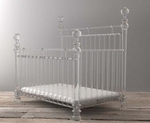 The Cinderella glass effect cot bed sets the mark for excellence among acrylic furniture. Hand made in England, the raw material is the purest, clearest acrylic in the world. The design and manufacturing process result in a timeless piece that is classic with a modern twist. And when your little one is ready to move up you can purchase extension rails and turn it into a double bed if you wish. www.Bambizi.co.uk