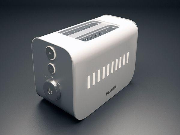 Toaster - Flama | EDDP@FEUP by Sofia Santos, via Behance        เครื่องปิ้งขนมปังไฟฟ้า มีรูปร่างกะทัดรัดเหมาะสำหรับใช้ในครัวเรือน ด้านข้างของตัวเครื่องมีปุ่มไว้สำหรับสั่งงาน โดยใช้สัญลักษณ์ที่เป็นหลักสากลมาใช้เพื่อสะดวกต่อการใช้งาน  ด้านหน้าของตัวเครื่องนั้นเป็นแสดงไฟเพื่อบอกถึงการทำงานของตัวเครื่อง