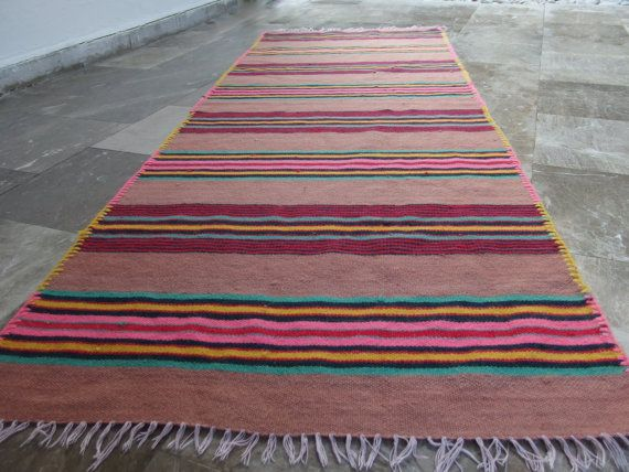 Pink!!! #Vintage #Kilim #Rug #Runner  #Striped   by #VintageHomeStories #Kitchen #Decor #Bedroom #Hallway #ChildrenRoom #Rustic #Turquoise #Yellow