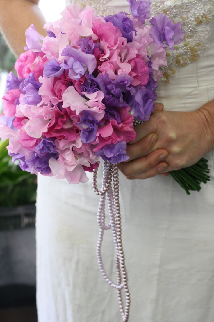 Loose Handtied Vintage Wedding Bouquet Of Sweetpea And Pearls