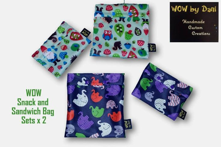Handmade by WOW By Dani Sandwich and Snack bag sets x 2