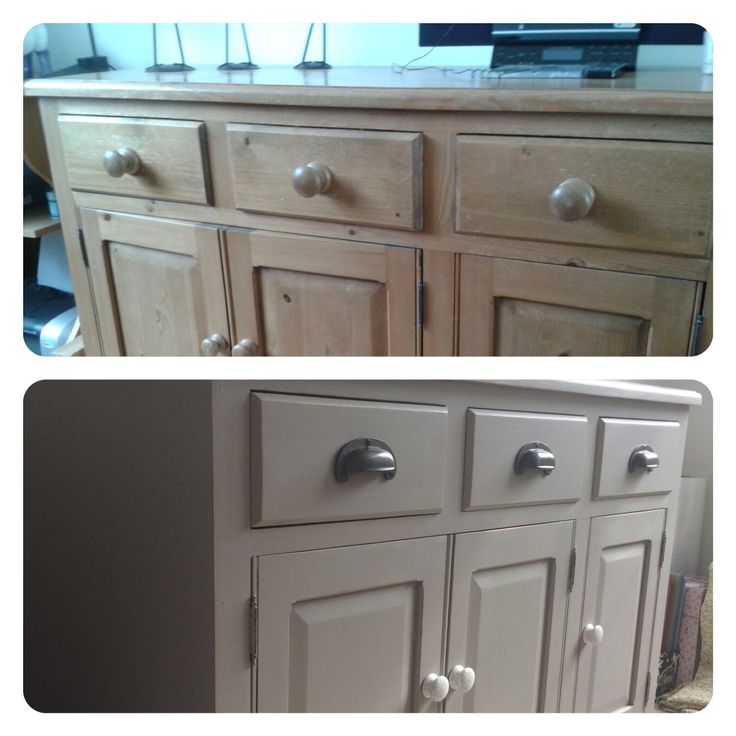 Weekend project - old pine sideboard, one coat of undercoat, two coats of farrow & ball estate eggshell charleston grey paint, light sand to give a slightly distressed look, cup handles & new crackle glaze knobs (happy)