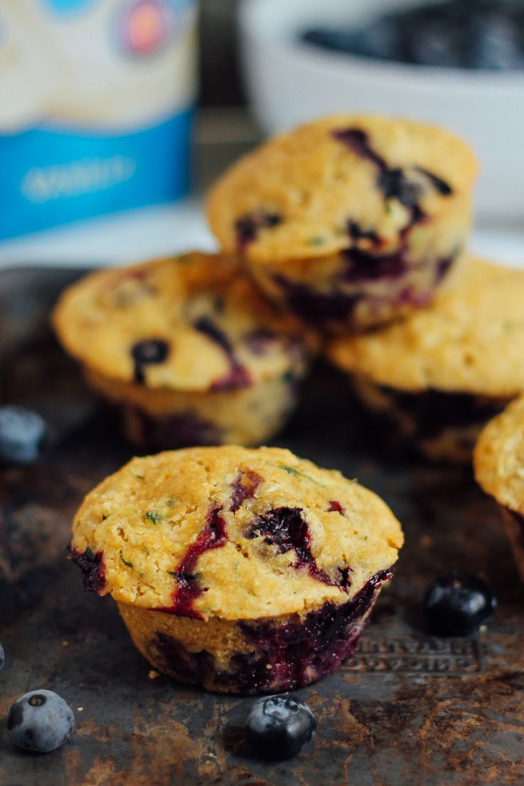 Healthy Zucchini Blueberry Cornbread Muffins by ambitiouskitchen: Made with whole grains and naturally sweetened with a hint of maple syrup. So moist and delicious. #Muffins #Blueberry #Zucchini #Cornbread #Healthy