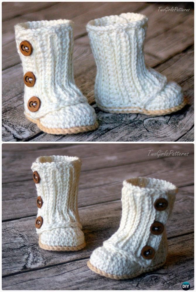 Crochet Baby Wrap Boots Pattern- #Crochet Ankle High Baby Booties Free Patterns
