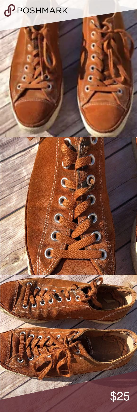 Converse All Star all Brown Leather 11/13 Converse All Star Brown Leather Men's 11/ womens 13. Definitely wear on these as shown in pic but a lot of life left in these bad boys!!! Converse Shoes
