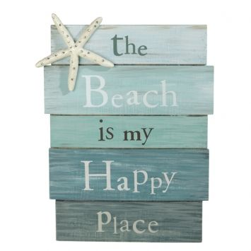 """Beach Is My Happy Place"" Sign - HomeDecor4Seasons"