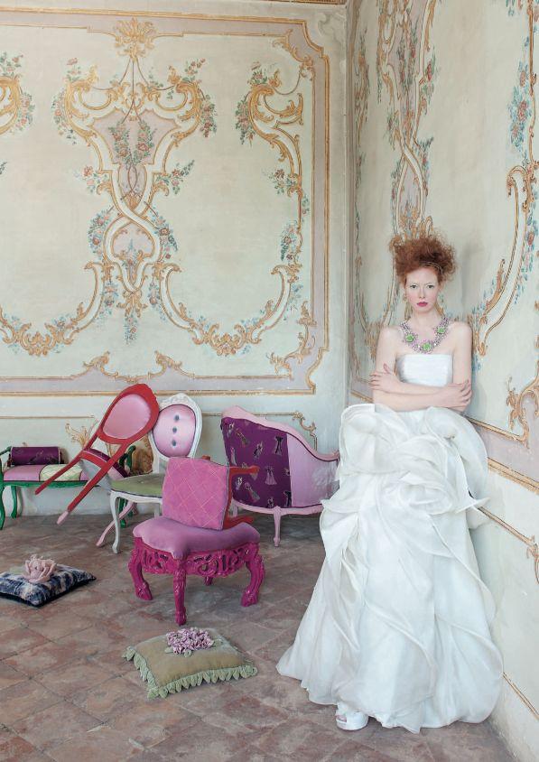 Abito, Antonio Riva. Ph. Marco Tassinari, stylist Mimmi Resmini. Vogue Sposa n. 121 Giugno 2012.