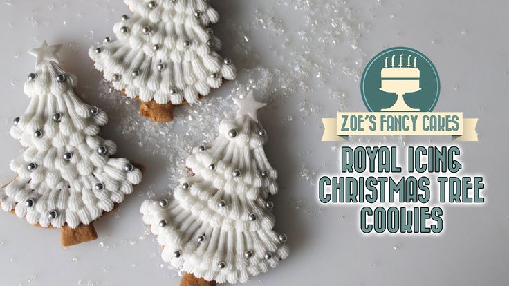 How to decorate your cookies like Christmas trees using royal icing. In this Christmas cookie decorating tutorial I show you how to use royal icing to decora...