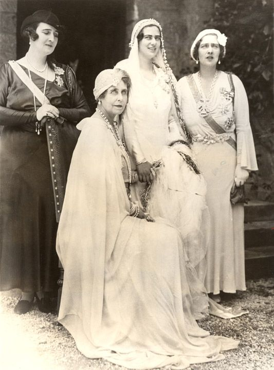 Queen Marie of Romania (second from left) and her daughters, Elisabeth, bride Ilena, and Marie.