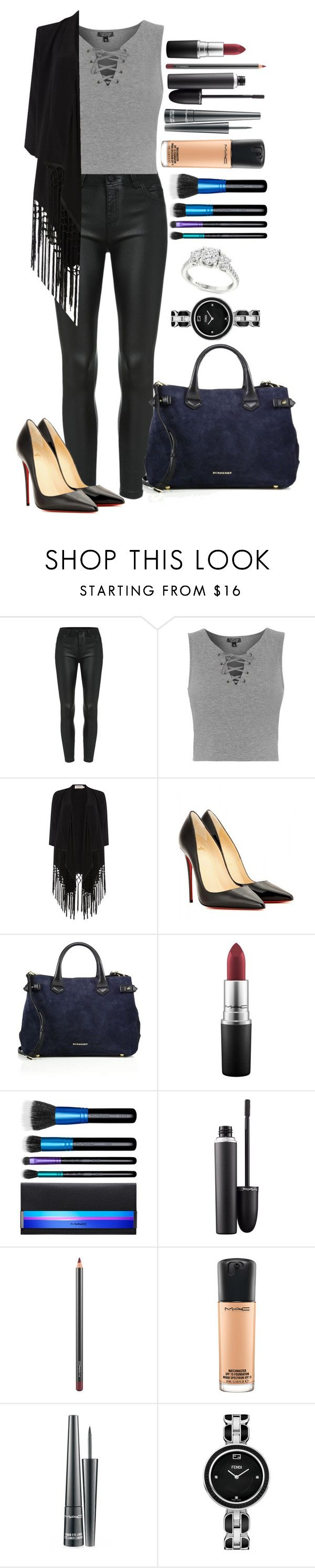 """Untitled #1258"" by fabianarveloc on Polyvore featuring Topshop, Soaked in Luxury, Christian Louboutin, Burberry, MAC Cosmetics and Fendi"