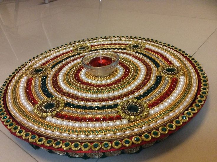 The 150 best images about rangoli decorated candel tray for Aarti thali decoration with kundan