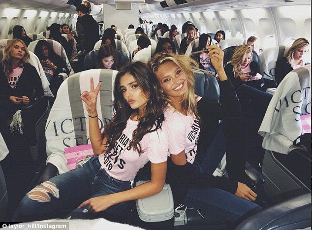 Ready for take off: Taylor Hill and Romee Strijd struck a pose on board the plane that was loaded with Victoria's secret branded items