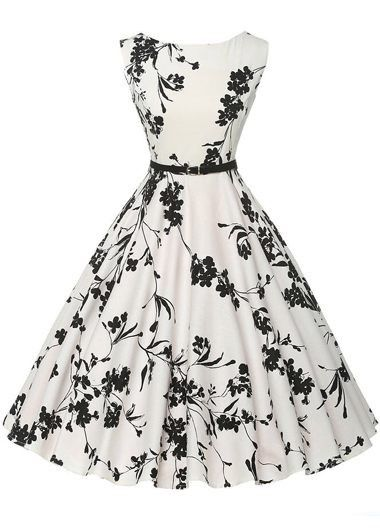 Vintage 50s Style White and Black Floral Print Swing Party Dress