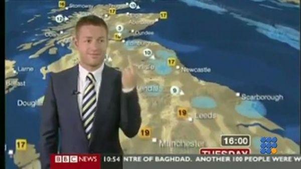 WebBuzz du 24/01/2017: Comment se faire virer en moins de 10 secondes-BBC Weatherman Caught Giving Middle Finger  Le présentateur météo de la BBC fait un geste obscène alors qu'il est à l'antenne  http://noemiconcept.com/index.php/en/departement-informatique/webbuzz-tech-info/207639-webbuzz-du-24-01-2017-comment-se-faire-virer-en-moins-de-10-secondes-bbc-weatherman-caught-giving-middle-finger.html#video