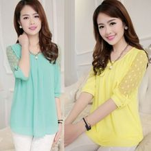 Yeni Kore Artı Boyutu Yaz Blusas Femininas Gevşek Dantel Bluz O-Boyun Yarım Kollu Nokta Baskı Şifon Bluzlar Kadınlar Dantel Gömlek(China (Mainland))