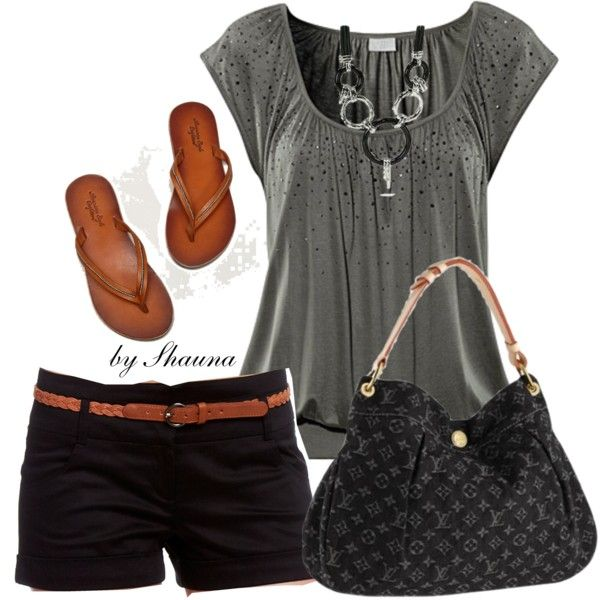 Summer OutfitStyle, Shirts, Clothing, Cute Summer Outfit, Shorts, Louis Vuitton Bags, Black, Casual Summer Fashion, Casual Dressy