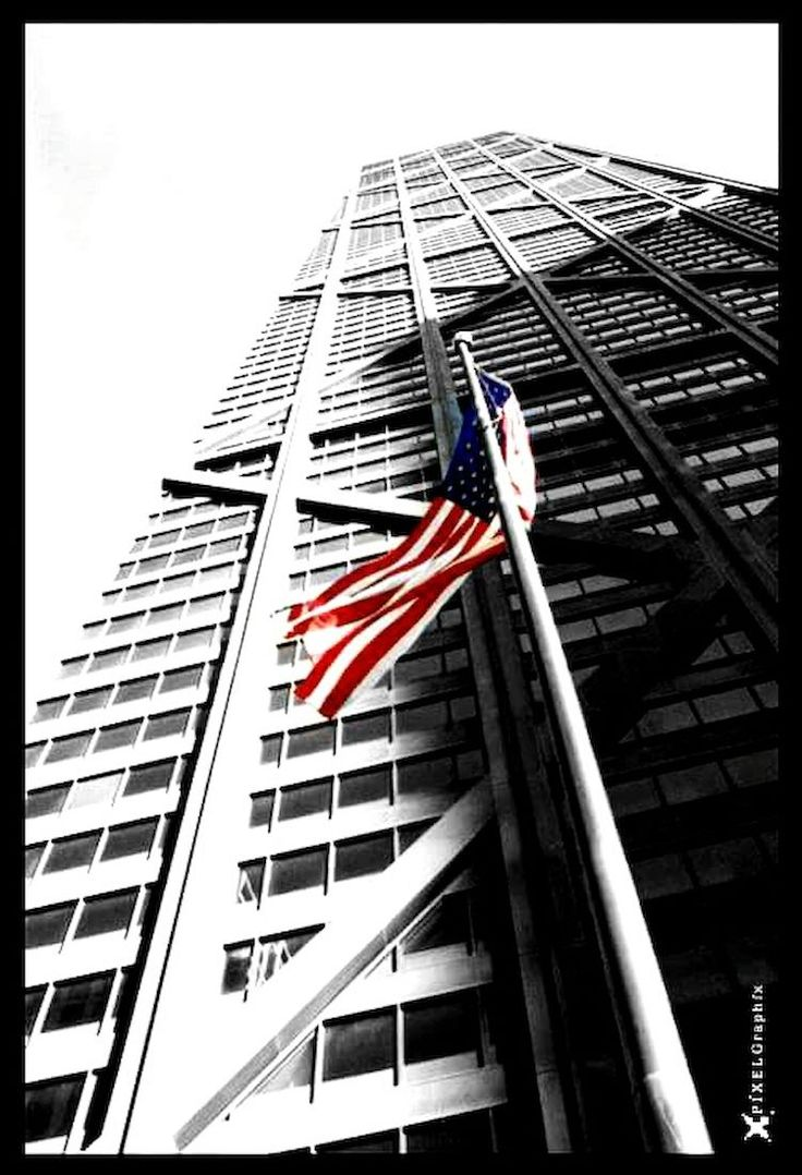 Chicago Architecture Downtown Chicago Arquitecture Perspective Lines And Shapes Blackandwhitephotography Black & White Skycrapercity Windycity Steeltower Hello World American Flag United States