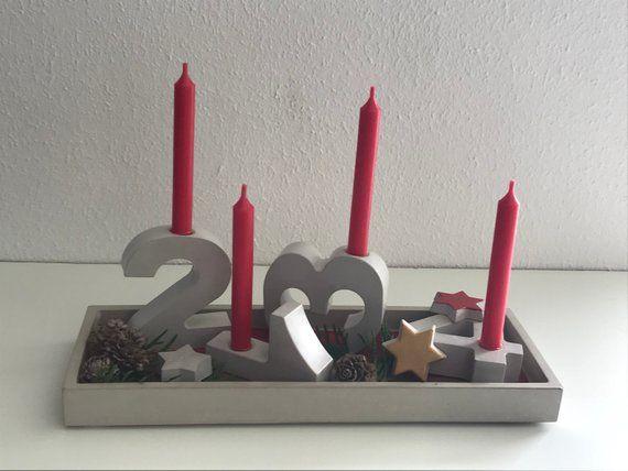 Adventskranz Tablett Mit 4 Zahlen Beton Adventskranz Ideen