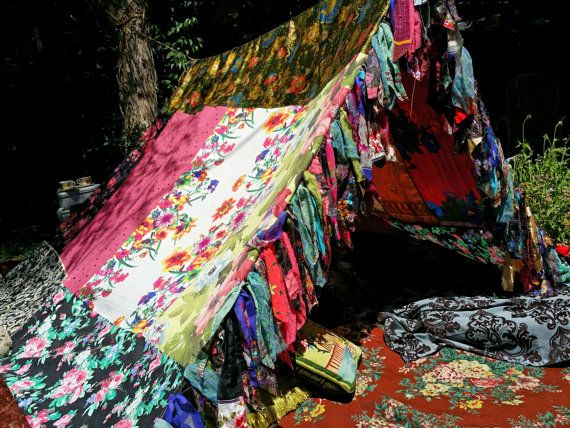 Boho tent teepee Bohemian Tapestry glamping silk by HippieWild