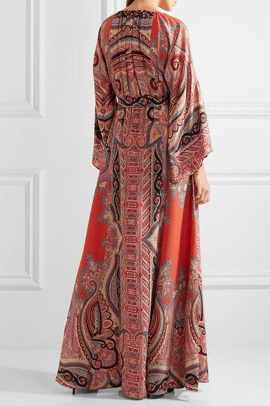 Etro - Tassel-trimmed Paisley-print Silk Gown - Burgundy - IT42
