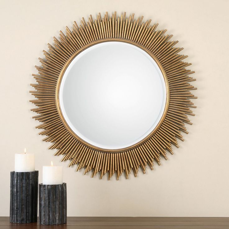 Uttermost Marlo Round Gold Mirror - 36 diam. in. | from hayneedle.com