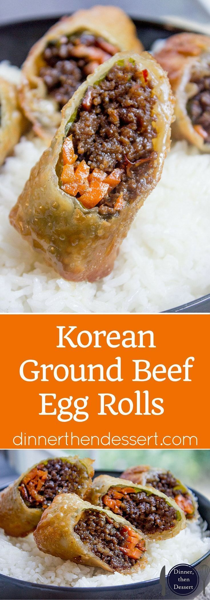 Korean Ground Beef Egg Rolls made with just a few ingredients are a great party food and perfect use of leftovers!   Dinner, Then Dessert