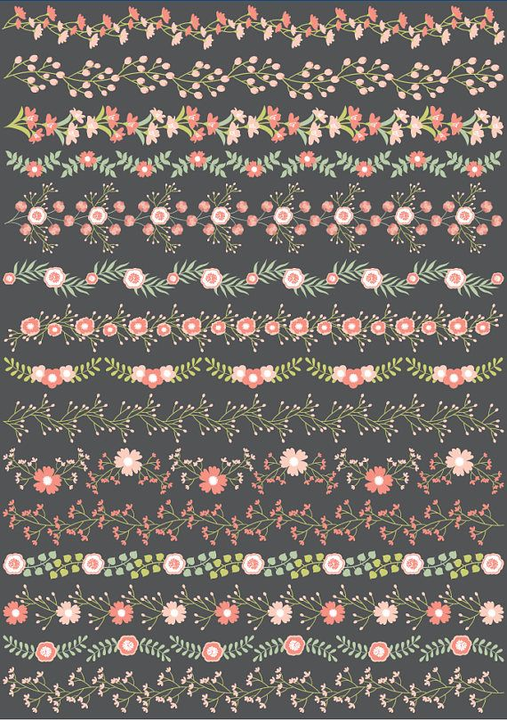 Floral Borders Clipart, Vector Floral Clipart, Vector Floral Borders Clipart #thecreativemill