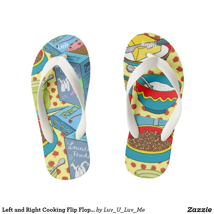 Left and Right Cooking Flip Flops for Kids Thongs