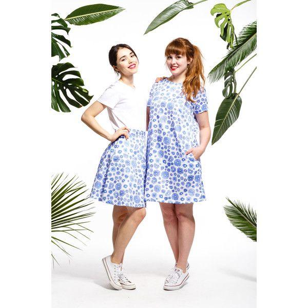 Handmade mushroom shift dress, mushroom dress (€63) ❤ liked on Polyvore featuring dresses, shift dresses, white shift dress, white day dress and white dresses