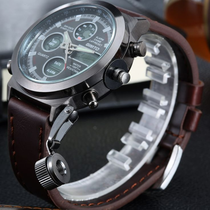 2016 Hot Brand GIMTO Quartz Digital Sports Watches Men Leather Nylon LED Military Army Waterproof Diving Wristwatch Reloj Hombre Who like it ?  #shop #beauty #Woman's fashion #Products #Watch