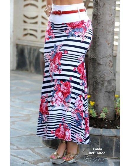 Falda larga de rayas y flores estampadas haz tu compra en http://coteseduction.com/