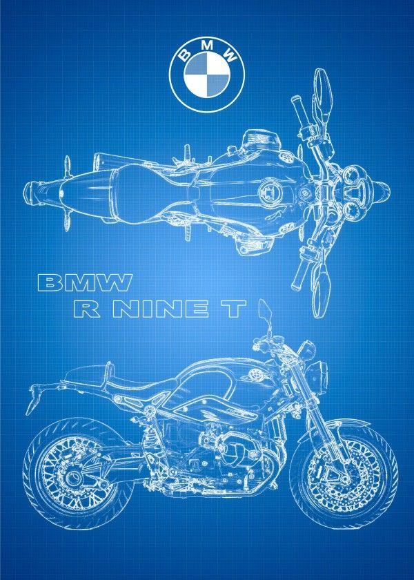 Motorcycle blueprints bmw r nine t displate artwork by artist motorcycle blueprints bmw r nine t displate artwork by artist steven part of an 8 piece set featuring artwork based on popular motorcycles 35 malvernweather Choice Image