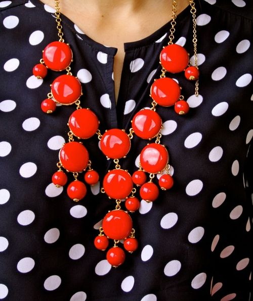 Polka dots and a contrasting bubble necklace