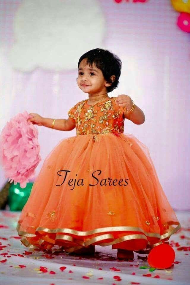 Orange Anarkali Long Frock For Baby Girls