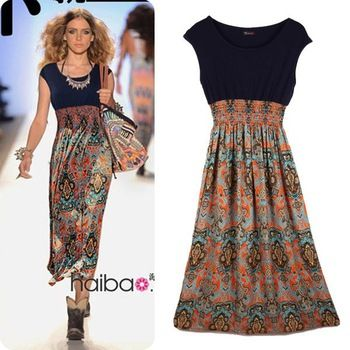 summer fashion for women over 50 | Fashion Style Vintage Print Chiffon Patchwork Long Dress For Women ...