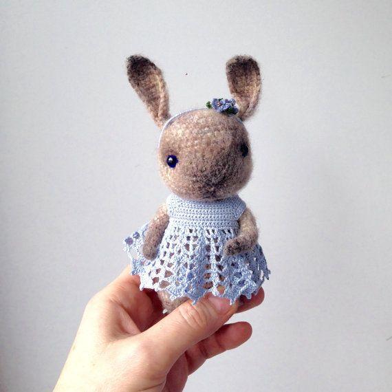 Amigurumi Bunny In Dress : Crochet bunny with blue dress and hairband with tiny ...