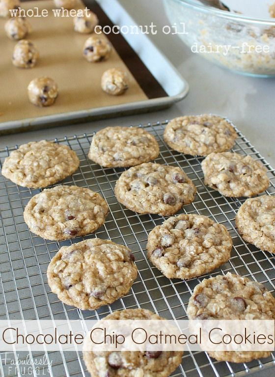 Whole Wheat Dairy-Free Coconut Oil Chocolate Chip Oatmeal Cookies!